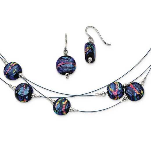 QE6269SET: Sterling S Blue Dichroic Glass Earrings & 18in Necklace Set