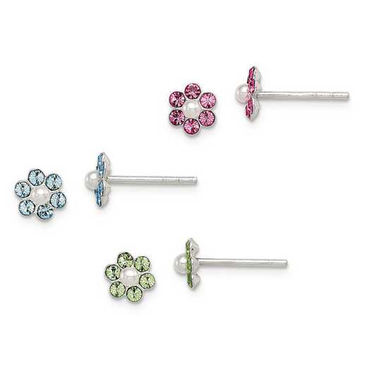 QE9578SET: SS Stellux Crystal Imitation Pearl Post Flower 3pc Set Ear