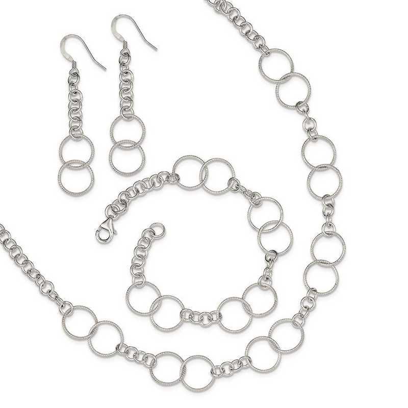 QG2459SET: Sterling Silver Necklace - Bracelet and Earring Set