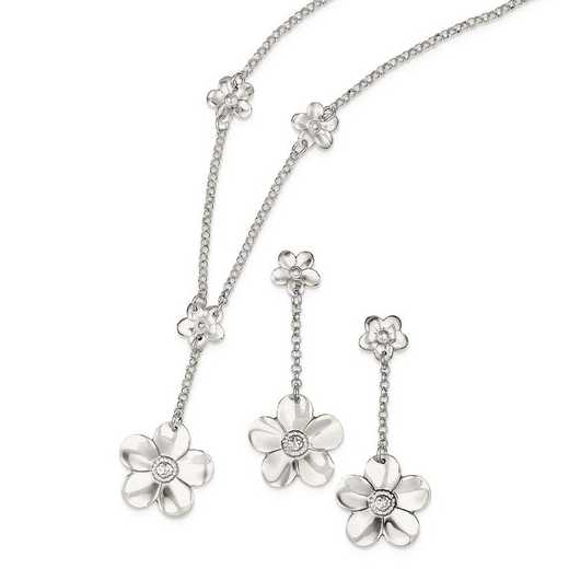 QG2463SET: Sterling Silver Necklace and Earring Set