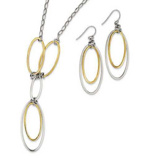 QG2983SET: Sterling Silver & Vermeil Polished Drop Necklace & Earr Set