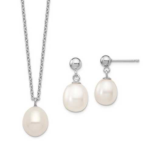 QG5615SET: Sterling Silver 8-9mm Rice FWC Pearl Necklace/Earrings Set