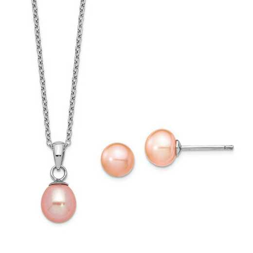 QG5657SET: Sterling Silver 7-8mm /6-7mm Pink Pearl Neckl/Earrings Set