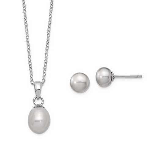 QG5658SET: Sterling Silver 7-8mm /6-7mm Grey Pearl Neckl/Earrings Set