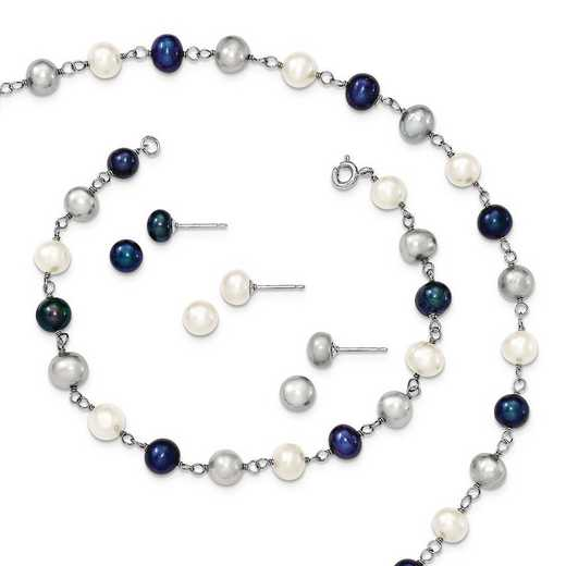 QH4856SET: Sterling Silver FWC Pearl Necklace Bracelet 3pc Earring Set