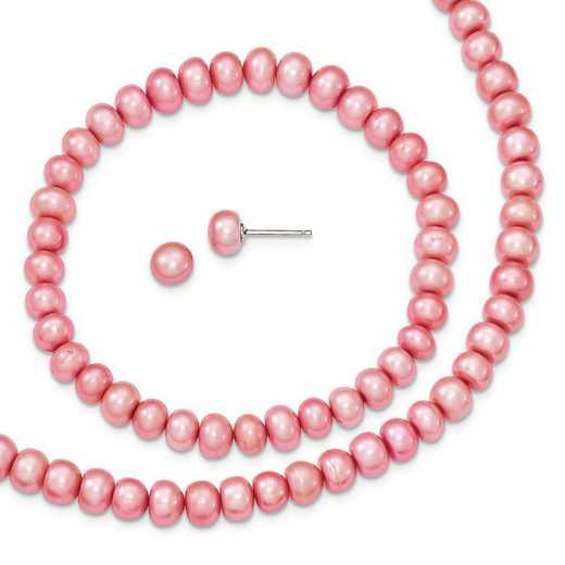 QH4863SET: Sterling Silver Rose 6-7mm FW Cultured Pearl Set