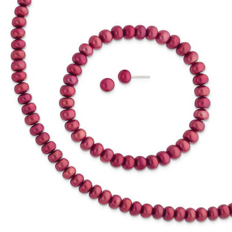 QH4889SET: Sterling Silver Red 6-7mm FW Cultured Pearl Set