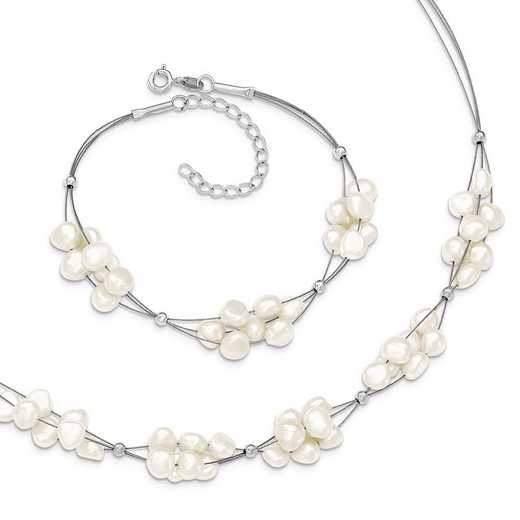 QH5182SET: Sterling Silver FWC Pearls 7.75/2 Brace 18/2 Necklace Set