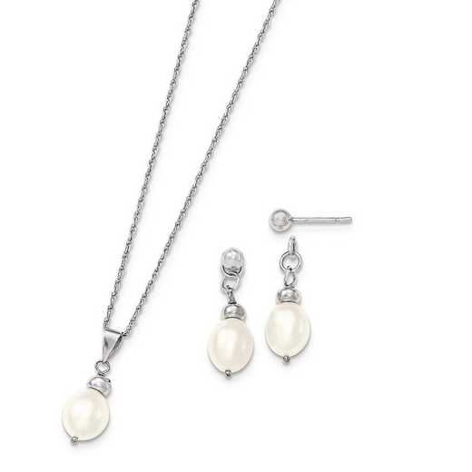 QH5184SET: Sterling Silver 7-8mm FWC Pearl Pend & Earrings Boxed Set
