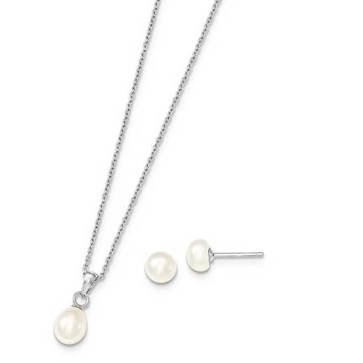 QH5191SET: Sterling Silver Rhodium FWC Pearl Necklace & Stud Ear Set