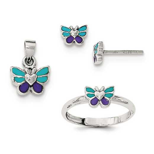 QH5201SET: SS Rhodium Butterfly Children's Earring - Ring & Pendant Set