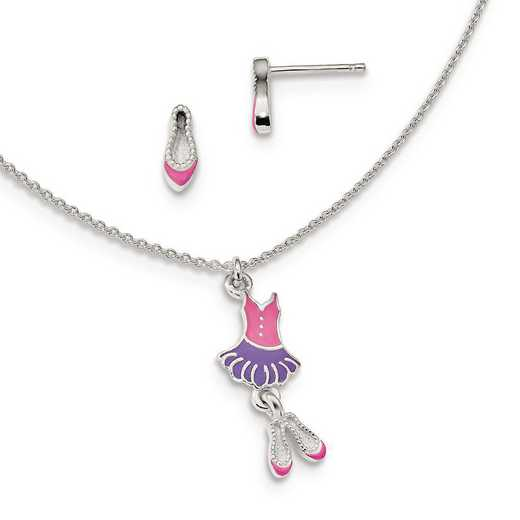 QH5354SET: Sterling Silver Enamel Ballerina 14in Necklace & Earring Set