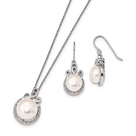 QH5371SET: Sterling Silver 9-13mm FWC Pearl CZ Earring and Necklace Set