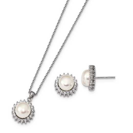 QH5377SET: Sterling Silver 8-9mm Wh FWC Pearl CZ Earring & Necklace Set