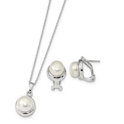 QH5378SET: Sterling Silver 8-10mm Wh FWC Pearl Earring & Necklace Set