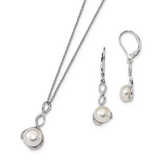 QH5379SET: Sterling Silver 8-9mm White FWC Pearl Earring Necklace Set