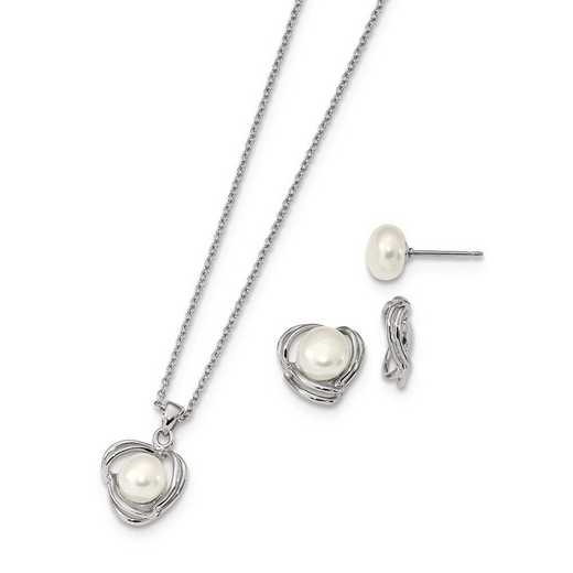 QH5380SET: Sterling S RH6-7mm FWC Pearl CZ Earring Jacket/Necklace Set
