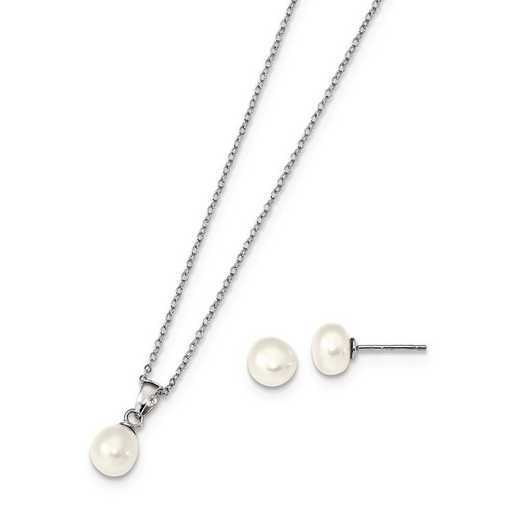 QH5382SET: Sterling Silver 6.7mm White FWC Pearl Earring & Necklace Set