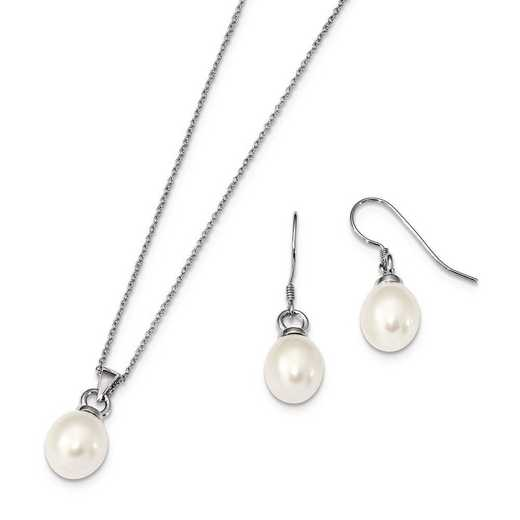 QH5384SET: Sterling Silver RH 10-11mm FWC Pearl Earring Necklace Set