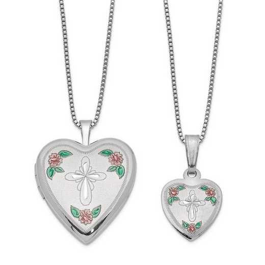 QLS438SET: Sterling Silver Cross & Flowers Enamel Heart Locket & Pendan