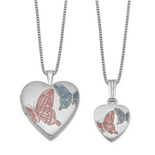 QLS439SET: SS Rho Butterflies Heart Locket and Pendant Set with Chain