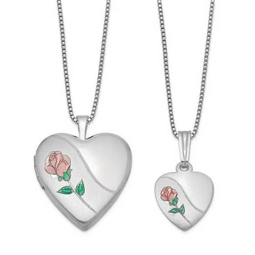 QLS441SET: SS Rho Satin Rose Heart Locket and Pendant with Chain