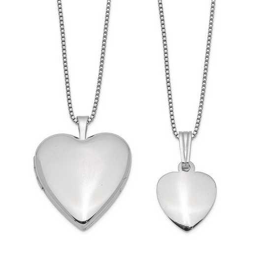 QLS442SET: Sterling Silver Polished and Satin Heart Locket/Pendant Set
