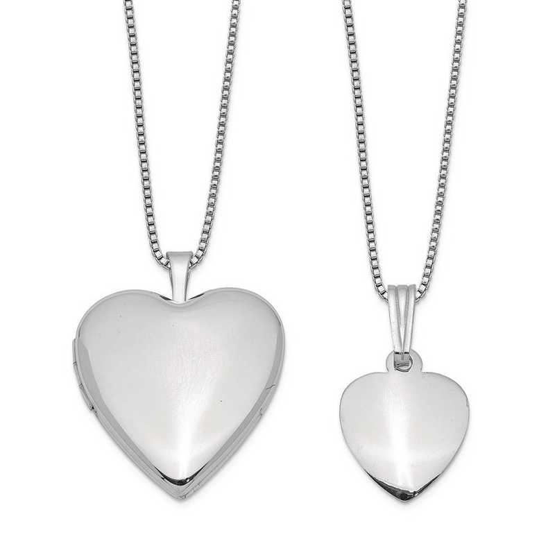 QLS442SET: Sterling Silver Polished and Satin Heart Locket/Pendant Set