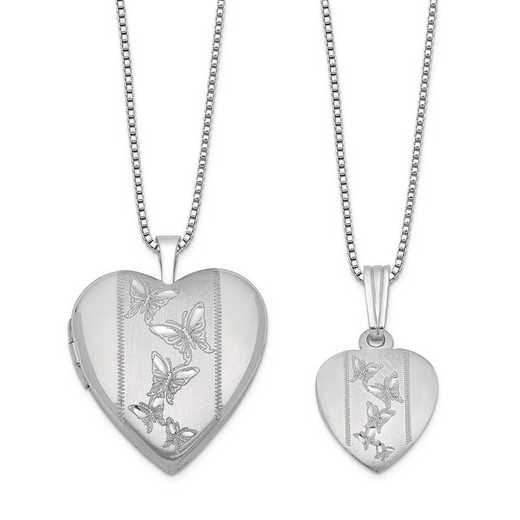 QLS445SET: SS Rho Butterfly Heart Locket and Pendant Set with Chain