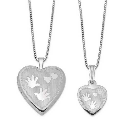 QLS446SET: SS Rho Satin Hand and Hearts Locket and Pendant with Chain