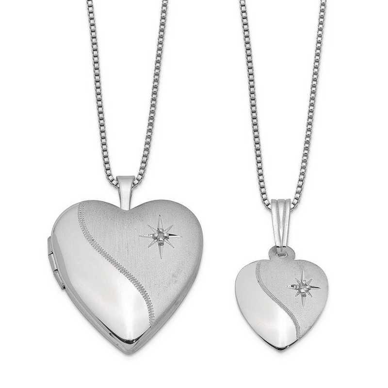 QLS447SET: Sterling Silver Diamond Accent Satin Heart Locket & Pendan