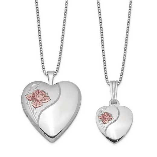 QLS448SET: SS Rho Satin Rose Heart Locket and Pendant with Chain