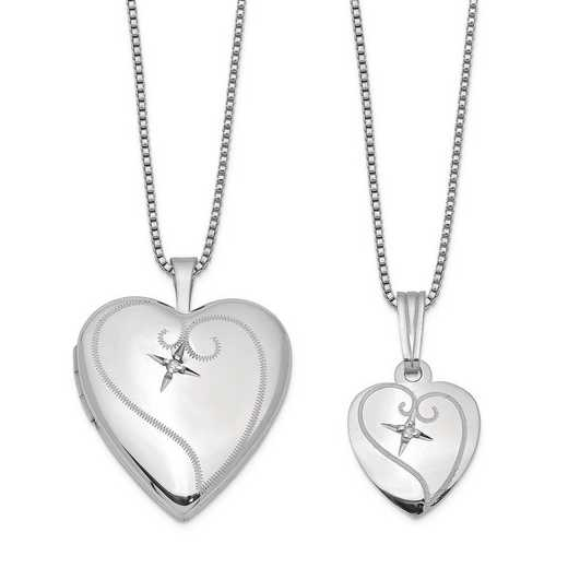 QLS449SET: SS Rho Pol Diamond Heart Locket amd Pendant Set with Chain