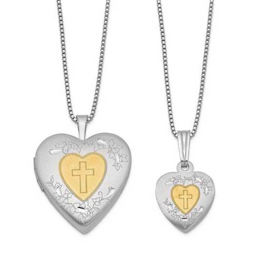 QLS454SET: Sterling Silver Gold-plated Heart Locket & Pendant Set