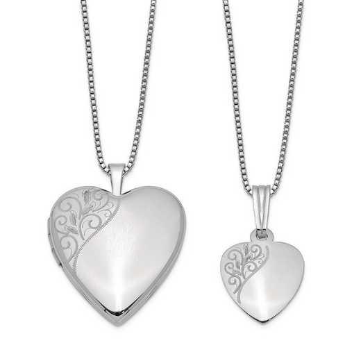 QLS457SET: Sterling Silver Polished Swirl Design Heart Locket & Pendant