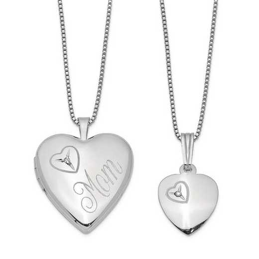 QLS458SET: SS Rho Polish Diamond Heart Locket and Pendant with Chain