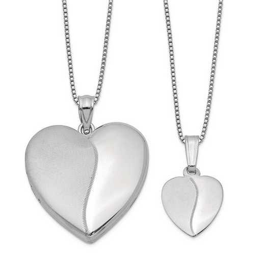 QLS459SET: Sterling Silver Polished and Satin Heart Locket/Pendant Set