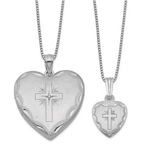 QLS460SET: Sterling Silver Diamond Cross Heart Locket & Pendant Set