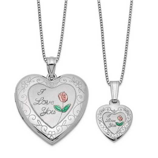 QLS461SET: SS Rho I Love You Heart Locket and Pendant Set with Chain
