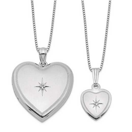 QLS462SET: SS Rho Diamond Satin Heart Locket and Pendant with Chain