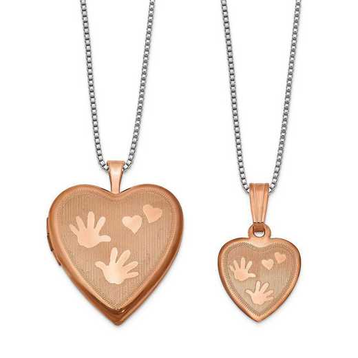 QLS661SET: SS Rose-plated Polished Satin Hand and Hearts Locket & Pend