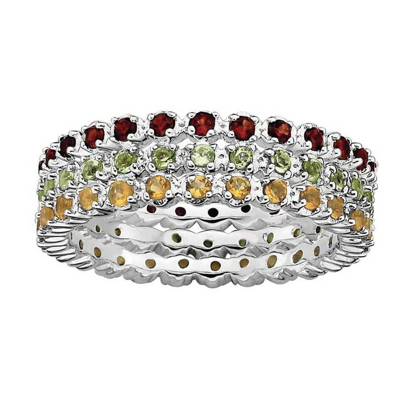 QSKSET178-10: Sterling Silver Stackable Eternity of Color Ring Set