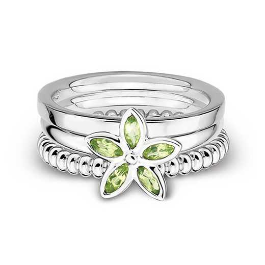 Sterling Silver Stackable Three Amigos Single Color Ring Set