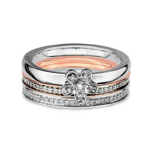 Sterling Silver Stackable 3/8 CTTW Diamond Flower Ring Set