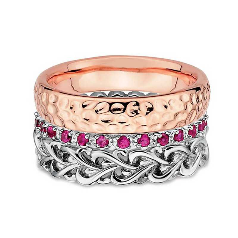 Sterling Silver Stackable Rose Tone Ring Set