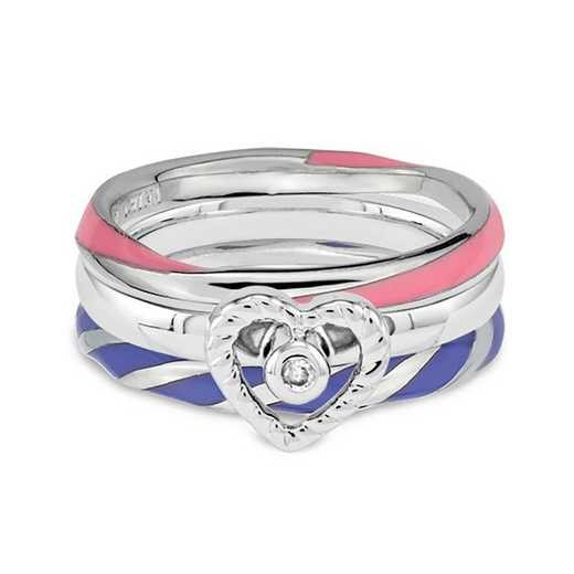 Sterling Silver Stackable Diamond Accent Sweetheart Ring Set