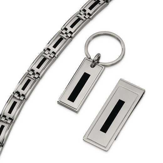 SRSET1: Stainless Steel Enameled Bracelet - Money Clip & Key Ring Set