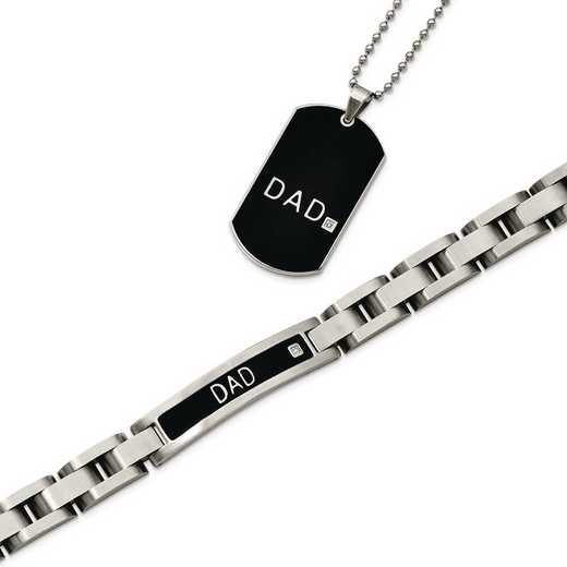 SRSET23: Stainless Steel Blk-pl 8.75in Dad Bracelet,24in Dad Neck Set