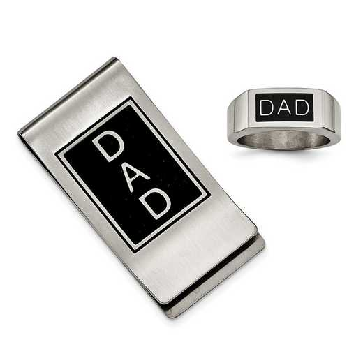 Stainless Steel Black Enamel Dad Money Clip and Ring Set
