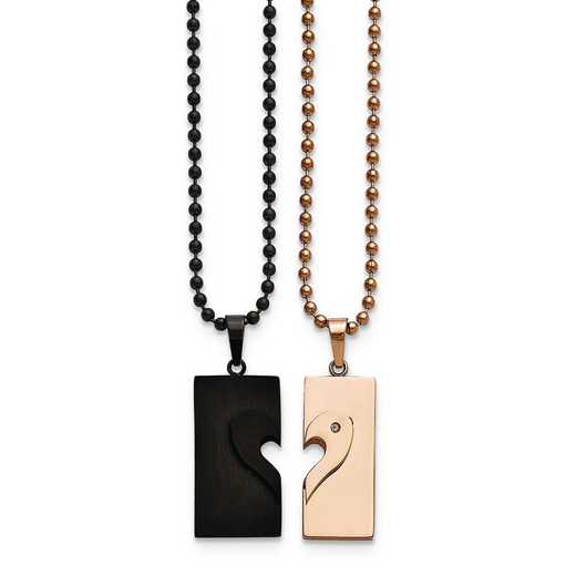 SRSET25-22: Stainless Steel Black IP-plated & Pink IP-plate Necklace Set